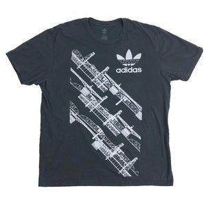Adidas Originals L Large T Shirt Cotton Gray Mens